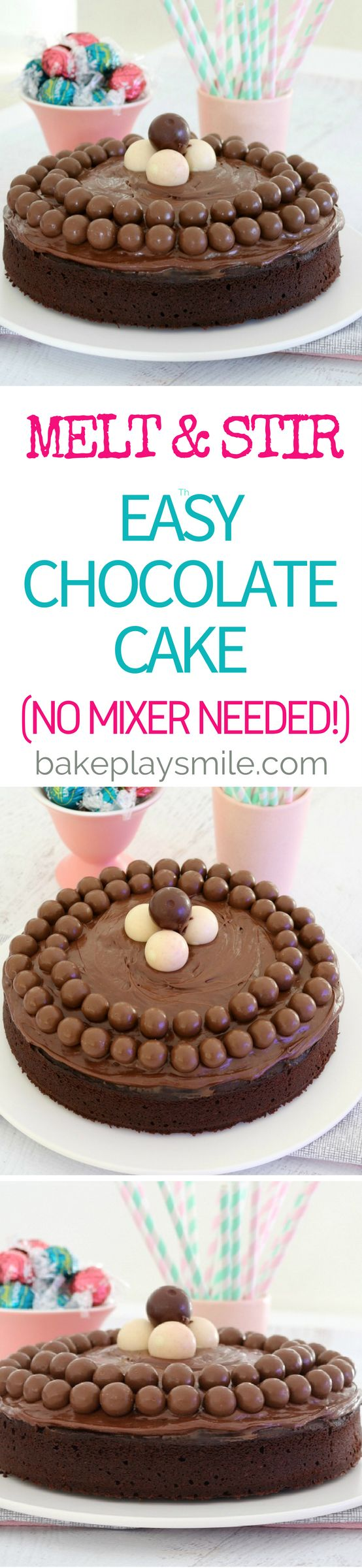 NO MIXER NEEDED CHOCOLATE CAKE!!! Donna Hay's Melt & Mix Chocolate Cake is the answer to your cake making dilemmas! It's the most deliciously moist cake… and best of all, you don't even need a mixer! Simply stir all of the ingredients together and bake. It's as simple as that! #nomixer #melt #mix #chocolate #cake #baking #easy #thermomix #conventional