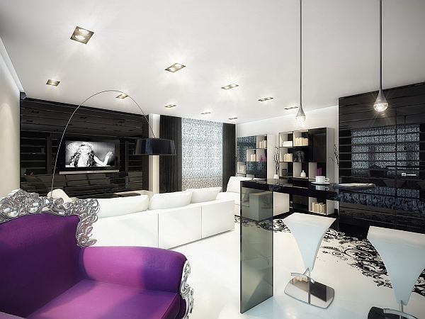 Purple Black And White Room | Splash of Color in a Black & White Environment