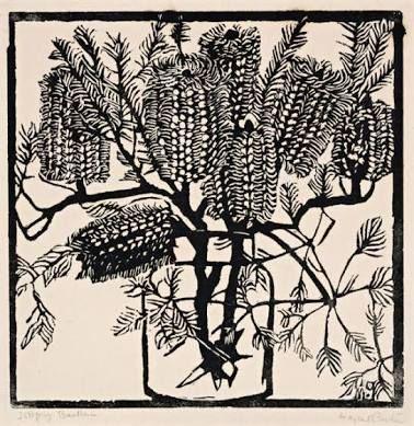 Margaret Preston (Australian, 1875-1963), Banksia, c.1925. Woodcut on paper, 24.5 x 24.5 cm. Number 29/50.