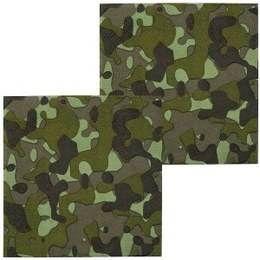 Een set met 12 servetten met een camouflage print. Perfect voor leger themafeesten. Doorsnede: 25 x 25cm. € 1,50