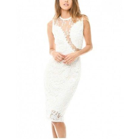 Ekskluzywna kremowa koronkowa sukienka midi z siateczką