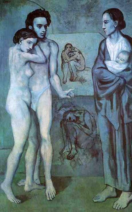 파블로 피카소  삶, 1903   캔버스의 유채  클리브랜드 미술관 소장      피카소 청색시대의 가장 큰 작품이다.   암울한 분위기의 남녀의 모습을 통해 피카소가 가지고 있는 감정적인 부분을 잘 표현하였고, 파란계통을 사용함으로서 기존과는 다른 작품세계를 구축하였다.  배경의 여인에서 입체적인 느낌을 받을 수 있는데 입체파적 기조가 조금씩 보잉는 것 같다.
