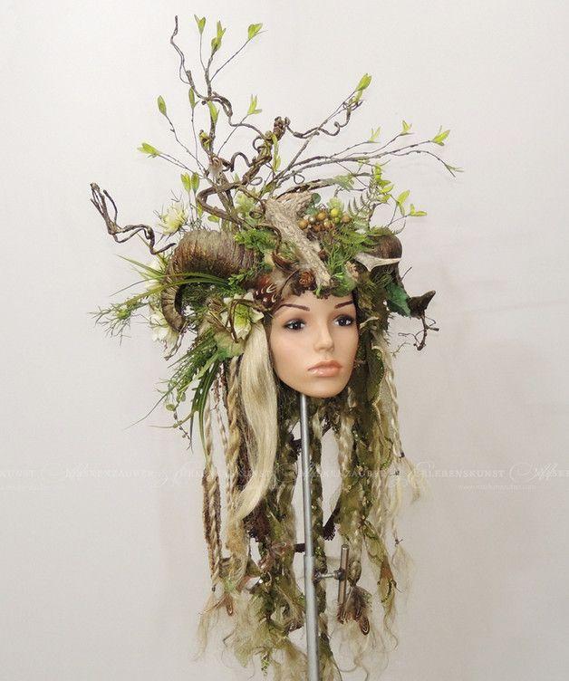 Haarschmuck & Kopfputz - Headdress, Waldkrone, Feen-Headdress, Headpiece - ein Designerstück von Maskenzauber bei DaWanda