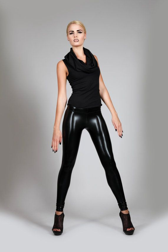 Black Leather Leggings Plain Shiny Spandex by ...