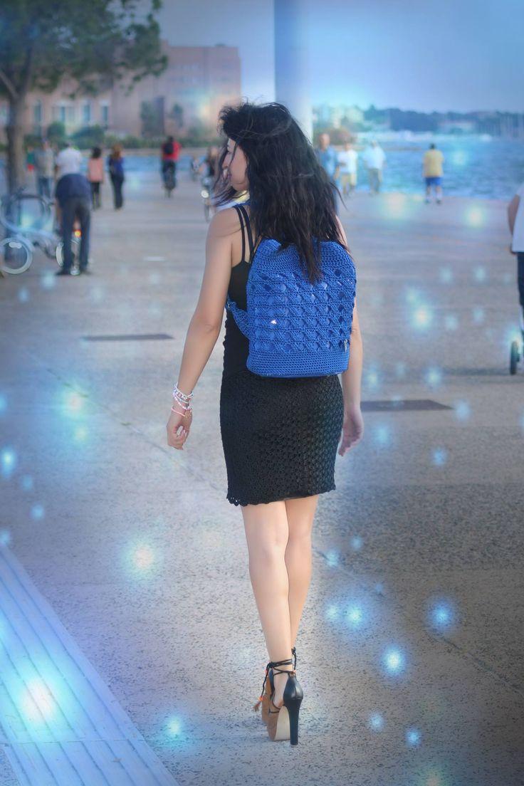Perfect match! Handmade crochet shoulder bag with handmade dress! @Ververis_Bags