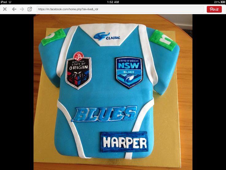 State of origin NSW jersey cake 1st birthday 2015. I made for Tine's nephew