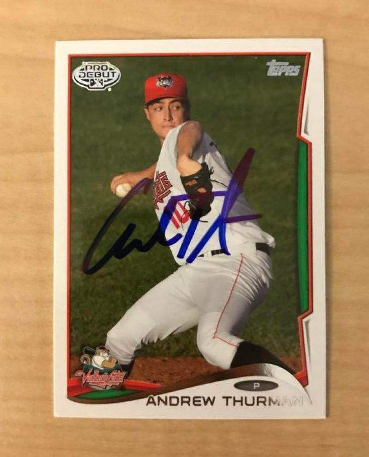 ANDREW THURMAN TRI-CITY VALLEYCATS SIGNED 2014 TOPPS PRO DEBUT CARD #103 W/COA #PRODEBUT