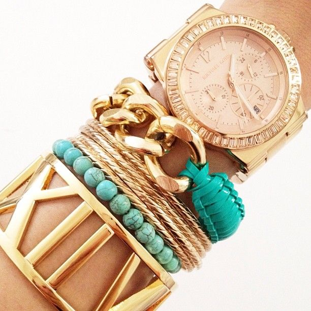 Gold & turquoise arm candy.