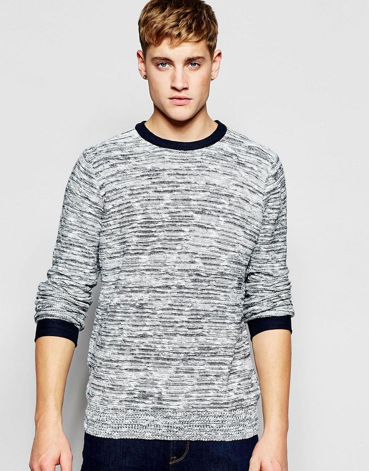 Image 1 ofBellfield Knitted Jumper with Stripe Weave