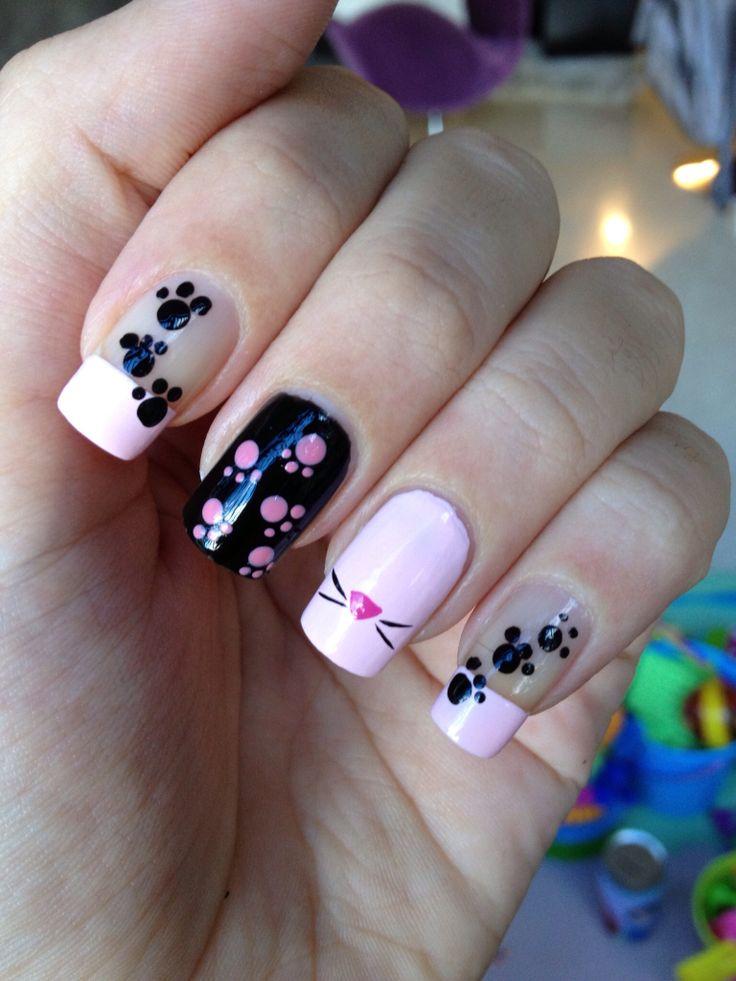 """Nail DIY idea- use dotting tool for paw prints. by Katia My own pink panther  nails! Art Nails ... - 74 Best The Pink Panther Images On Pinterest Pink Panthers, Tv"