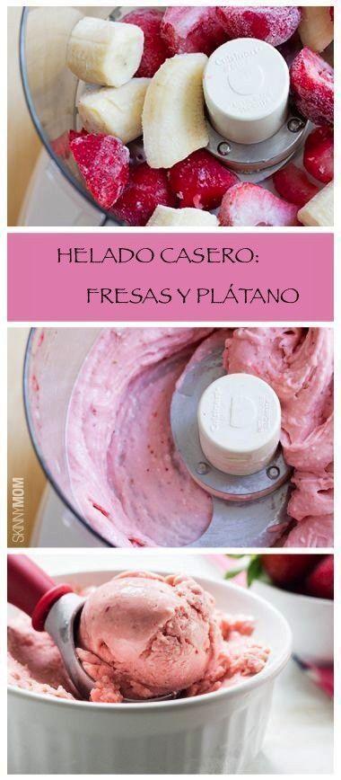 Fresas y plátano ( ya cortado) congelados, moler en la licuadora con un poco de yogurt natural y listo! A disfrutar!
