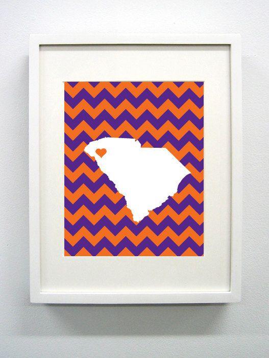 Clemson, South Carolina State Giclée Print - 8x10 - Purple and Orange University Print