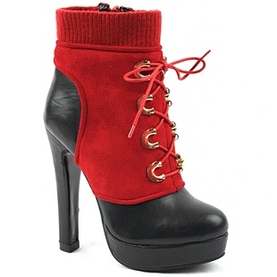 [SHOESONE.BIZ] 2171  Red Knit Banding Suede Lace-up Ankle Boots (12cm)
