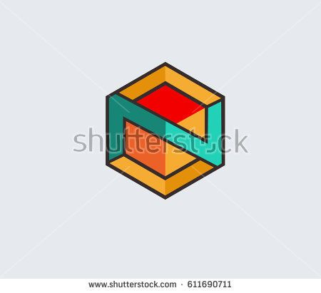 N hexagonal  icon vector,