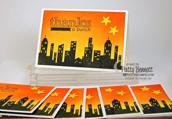 Calling All Heroes! Limited time stamp set from Stampin Up!  Sponge a sunset sky on daffodil delight cardstock then stamp the cityscape stamp in Memento Black ink. by Patty Bennett www.PattyStamps.com