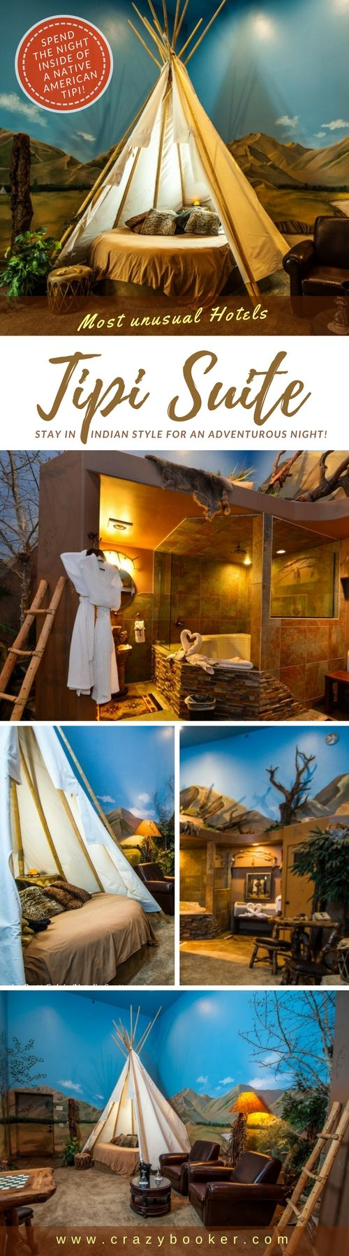 Tipi Suite - #nativeamerican  themed #hotel room | Close your eyes and hear the sound of drums and ancient Indian songs as you enter this Indian-style hotel suite. Look closely, in the distance you may see the buffalo. Snuggle under the furs and skins on the round bed in an Indian tent and enjoy the romantic glow of the artificial fireplace. This unique lodging not only embodies the harmony between nature and native Americans, but also offers modern comfort like a large jetted tub…