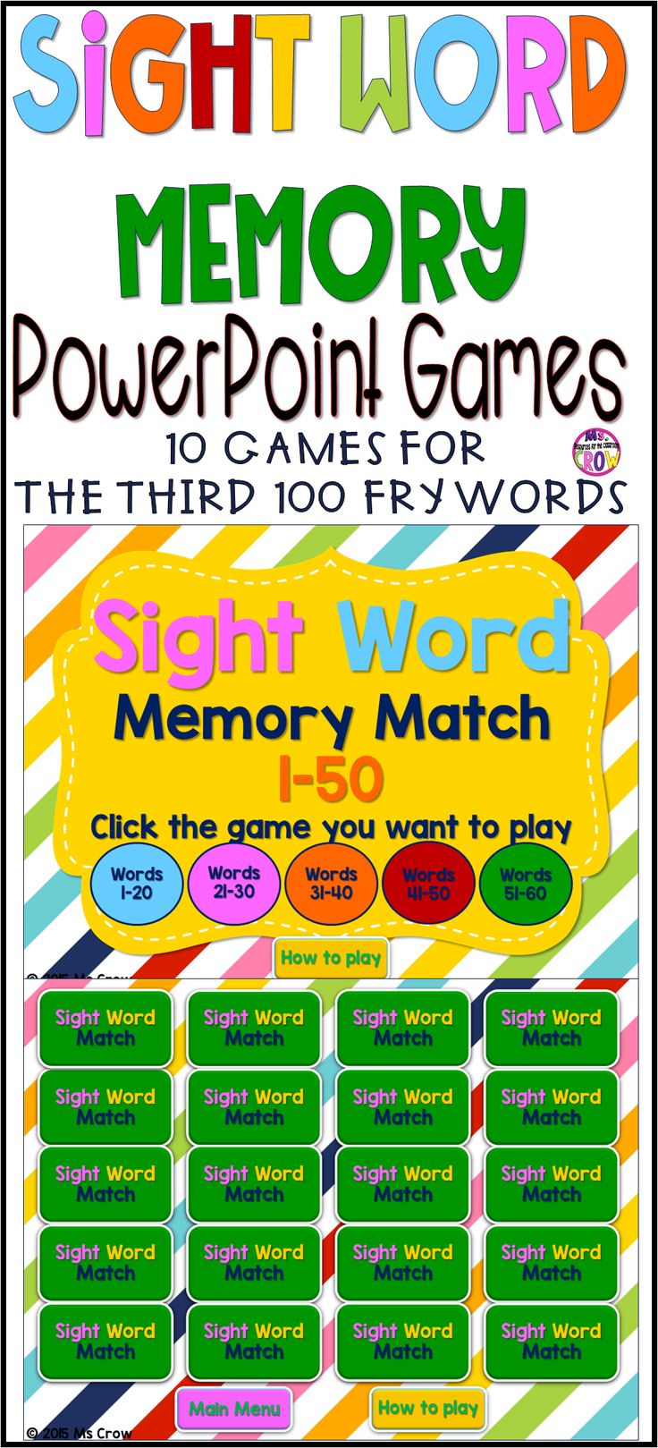Sight Word Games 10 Games to practice the Third 100 Fry Sight Words