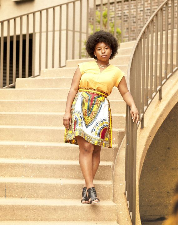 Dashiki Mini Skirt. African Print Women's Clothing. High