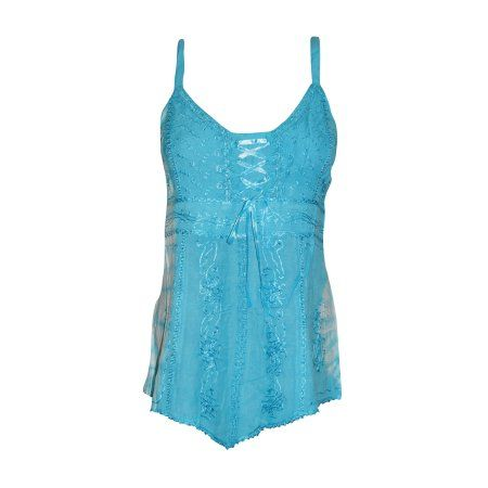 Mogul Women's Strappy Tank Top Blue Embroidered Stylish Blouse Tops  https://seller.walmart.com/items-and-inventory/manage-items