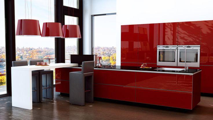 Un îlot central moderne et design, sublimé par le rouge et la brillance de la façade Cardamine... [...A chacun son ilot central par les Cuisines Charles Réma…]