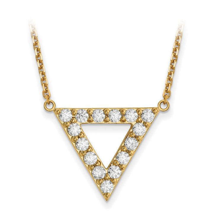 14k AA Quality Diamond 20mm Triangle Necklace XP5013AA