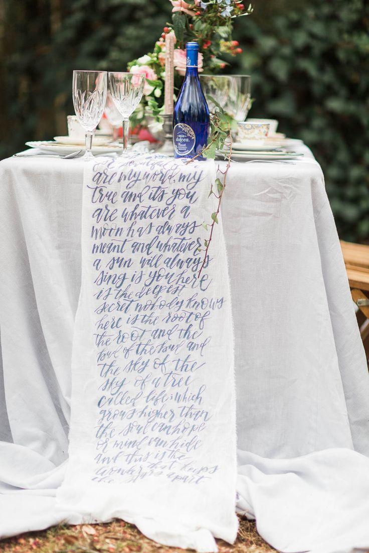 Calligraphy table runner. Valentine's Elopement Wedding Inspiration.
