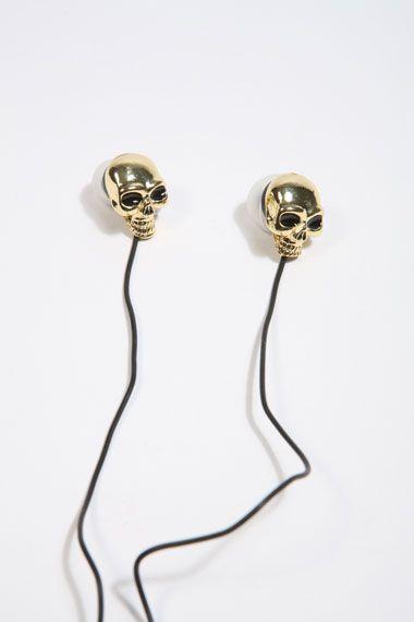 Gold skull headphones