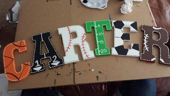 Hey, I found this really awesome Etsy listing at https://www.etsy.com/listing/195872427/custom-hand-painted-sports-theme-letters
