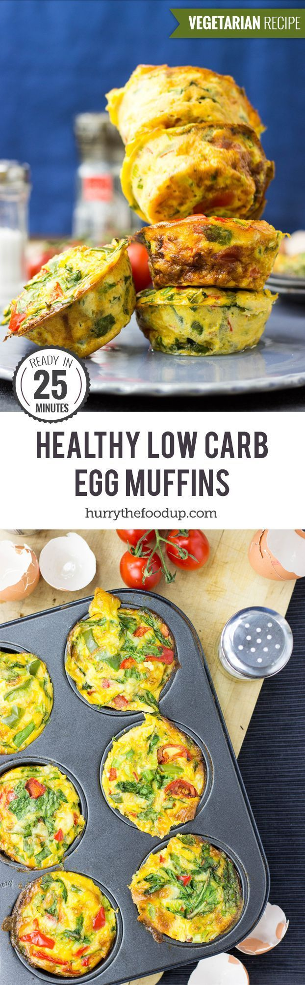 Healthy, Low Carb Egg Breakfast Muffins #vegetarian #muffin