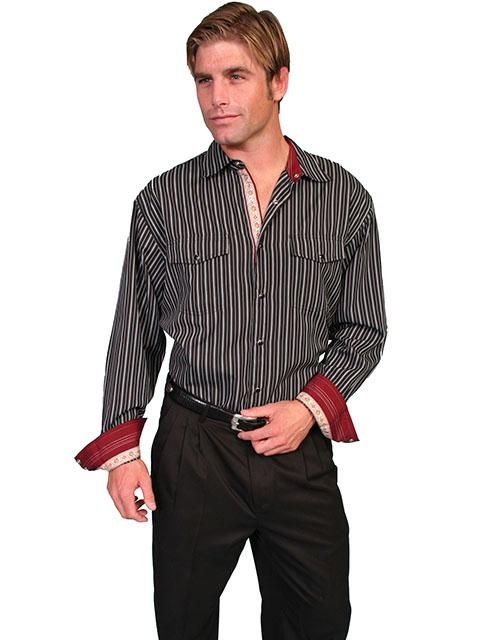 New Scully Men's Black Cotton Blend Black & White Striped Black Pearl Snap Signature Series Western Shirt PS-087 Gallery