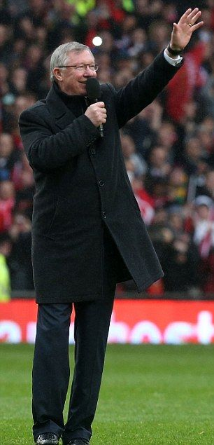 Sir Alex Ferguson addresses the crowd after his sides 2-1 home victory against Swansea - his final home game in charge