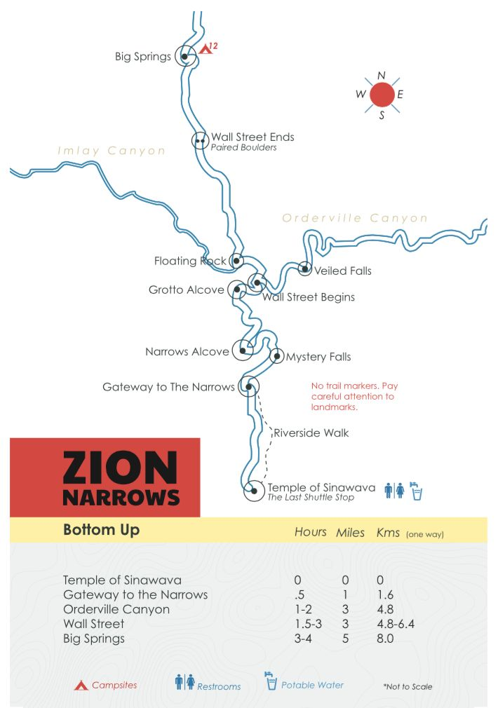 Zion Narrows Map - Bottom-Up Day Hike