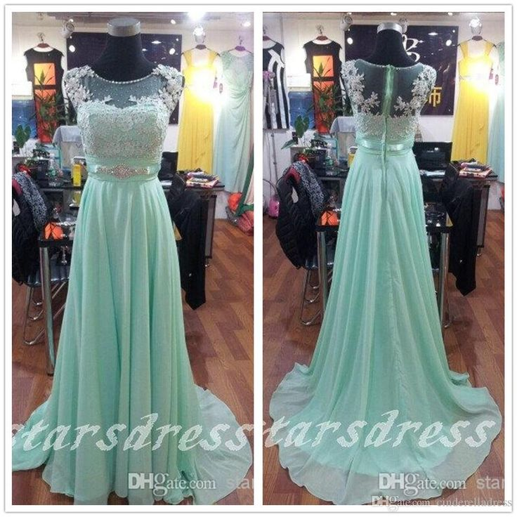 Wholesale 2015 Prom Dresses - Buy Beautiful Mint Lace Chiffon Long Bridesmaid Dresses 2015 Scoop Floor-length Full Back Cap Sleeve Prom Dresses with Beaded Evening Gown 2014, $91.52 | DHgate