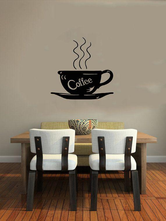 Cup Of Coffee Smoke Word Housewares Wall Vinyl Decal Art Murals Design Interior Cafe Dining Room Kitchen Shop Decor Sticker