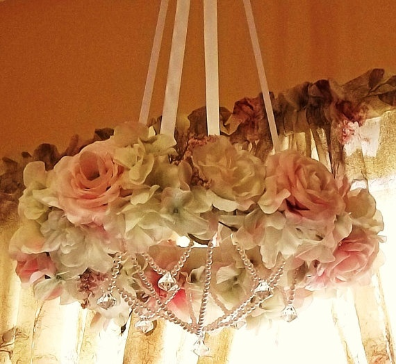 Rose Chandelier Home Decor Ceiling Hanging By SimpleJoysDecor, $82.50