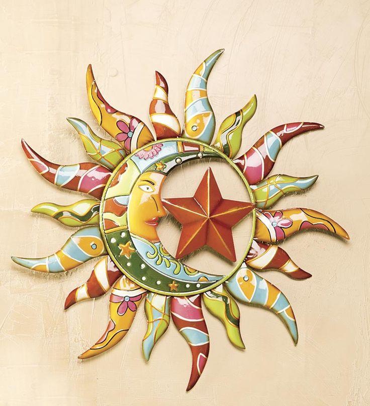 Talavera Painted Metal Sun And Moon Wall Art | Deck