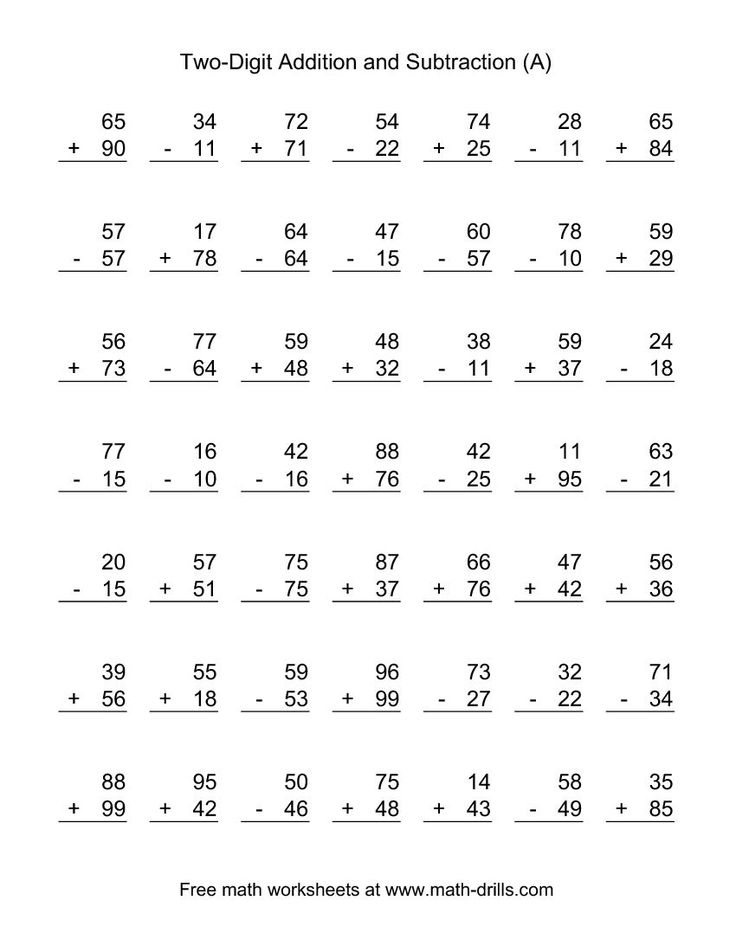 Two-Digit (A) Combined Addition and Subtraction Worksheet ...