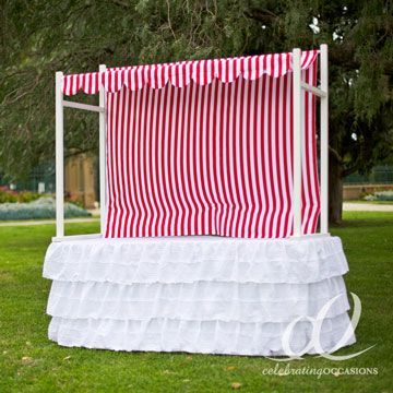 Lolly Buffet Table Top Frame - HIRE with Red & White Stripe Tent Cover