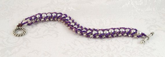 Flat Spiral Stitch Woven Bracelet with by SeaMowseCreations, $25.00
