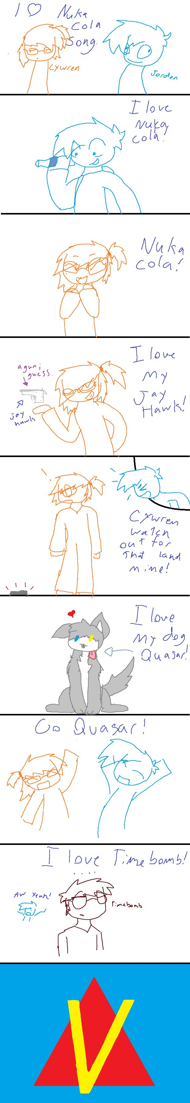 My drawing skills for humans and guns are bad.  But nevermind that,  here is a parody of I love coca cola song.  I used Venturiantale's characters in this.  So all rights go to him and stuff.