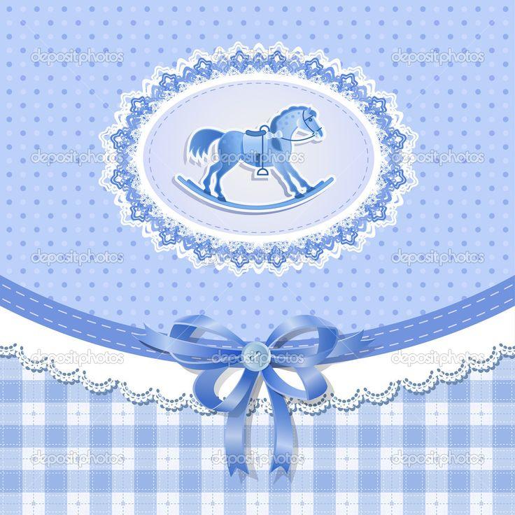 Baby prysznic dla chłopca z konia, wektor