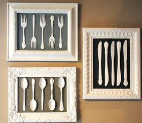 DIY framed utensil art. Great gift idea for someone who loves to cook!