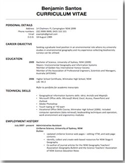 [caption Alignu003dalignnone CV Sample For First Job.