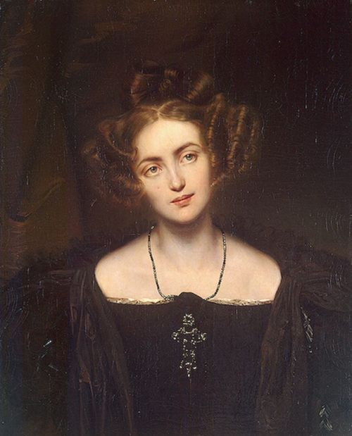 Paul Delaroche,Portrait of Henriette Sontag, 1831  From the Hermitage Museum:    HenrietteSontag(1806-1854) was a German coloratura soprano. She made her debut in 1824 but left the stage in 1830 upon her marriage, returning to the theatre in 1848 and once again performing with great success in many cities acrossEuropeandNorth America.DelarochedepictedSontagin the costume of Donna Anna from Mozart's operaDon Giovanni. This role, which the singer first performed inParisin 1