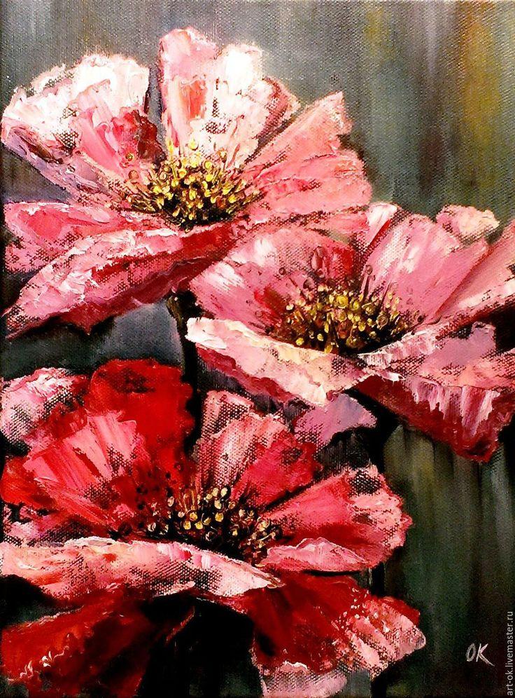 Картина Розовые маки, холст/масло, 30х40, продается
