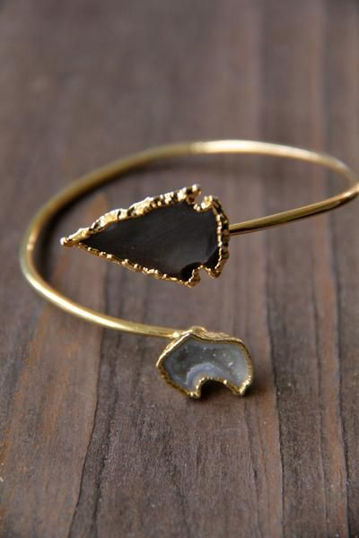 Handmade in the USA by Leslie Francesca. Adjustable thin cuff bracelet with side by side arrowhead and geode stone. Gold plated cuff and hardware.