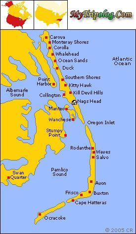 Hatteras Island Map Buxton North Carolina Frisco Avon