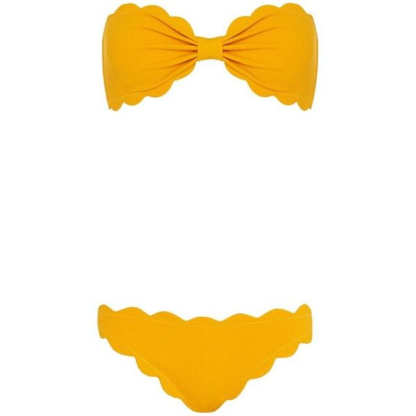 Marysia Antibes Scallop Trim Bandeau Bikini: Papaya- FINAL SALE ($275) ❤ liked on Polyvore featuring swimwear, bikinis, yellow, yellow bikini, bandeau bikini, yellow bandeau bikini, ruched bikini and bikini two piece