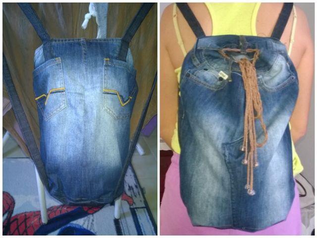 Şorttan Kot sırt çantası yaptım. Denim bag