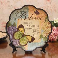 Moda vintage colorido desenho de cerâmica placa pendurada americano disco rústico decoração da borboleta placa bandeja de exibição paisagem